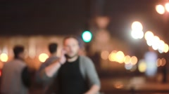 Emotional man in a hurry. Man rushing somewhere, talking on the phone. Looking Stock Footage