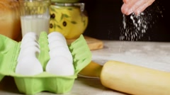 Female hands preparing dough for bread Stock Footage
