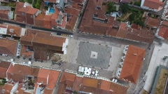 Aerial Shot overhead Old City Tomar Templar Castle  Convent Christ Portugal 4k Stock Footage