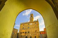 Volterra, medieval palace Palazzo Dei Priori, Pisa state, Tuscany, Italy Stock Photos