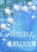 Christmas Background with Fir and Balls Stock Illustration
