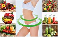 Young healthy woman with vegetables. Collage Stock Photos