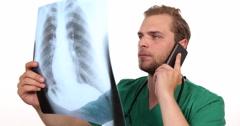 Medical Doctor Man Talking Affirmative Look Pulmonary X-Ray Hospital Laboratory Stock Footage
