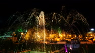 Magic drops of fountain at night. Stock Footage