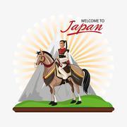 Samurai and horse cartoon design Stock Illustration