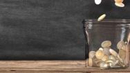 Mason jar full of coins. Financial saving metaphor. 3D Rendering. Stock Footage