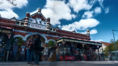 Time lapse - tourists walking in front of the Fremantle Market, Perth, Australia Stock Footage