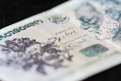 Georgian banknote of ten lari close up Stock Photos