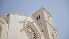 Giovinazzo palazzo Framarino cathedral angled Stock Footage