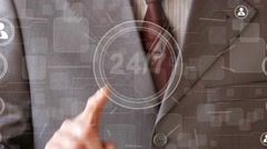 Business button web 24 hours service online network Stock Footage