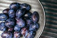 Plums background. Beautiful blue  in close up -  of fresh fruits Stock Photos