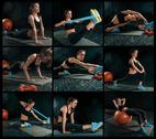 The collage from images of beautiful slim brunette doing some gymnastics at the Stock Photos