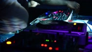 Musical equipment DJ console and in the light of the laser Stock Footage