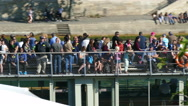 Paris, France. Closeup of people on a pleasure boat on the River Seine. Stock Footage