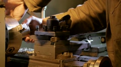 Machine for cutting metal, worker process, close up Stock Footage
