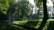 Fountain on estate Oldruitenborgh Stock Footage