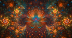 4K abstract multicolored symmetry motion background seamless looping fractal Stock Footage