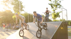 BMX rider does various in skatepark in Mariupol Stock Footage