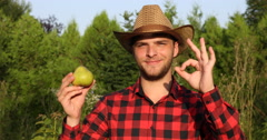 Optimistic Farmer Man Holding Organic Pear and Showing OK Sign in Garden Field Stock Footage