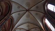 4k St. Peter's Cathedral  indoor zoom to big leadlight window  Bremen city Stock Footage