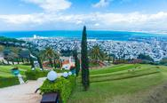 Aerial View of Haifa from Bahai Garden Stock Photos