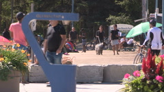 Toronto eastern beaches crowded boardwalk on sunny day Stock Footage