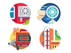 Climate control icons Stock Illustration