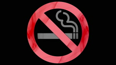 No smoking sign shaped with red and grey smoke on black background Stock Footage
