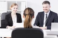 Creating a friendly atmosphere during a job interview Stock Photos