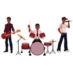 Set of handsome African male singer, drummer and guitar player Stock Illustration