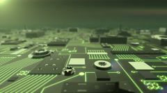 Green Illuminated Futuristic Circuit Board moving towards camera Stock Footage