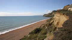 Eype beach Dorset England uk Jurassic coast south of Bridport and near West Bay Stock Footage