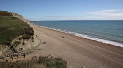 Eype beach and coast England uk small village south of Bridport Stock Footage