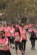 Breast Cancer Awareness Run in Barcelona. Stock Photos