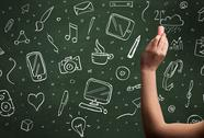 Hand writing icons on blackboard Stock Photos