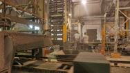 Operator and worker performing quality check on a concrete blocks factory Stock Footage