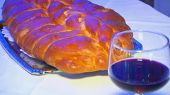 Shabbat with Challah bread and wine Stock Footage