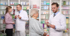 Pharmacy Activity Female Client Young Old Woman Medication Advice Pharmacist Men Stock Footage