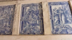 Tiles art of Templar christ convent - Tomar Portugal Stock Footage