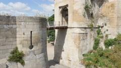 CAEN, FRANCE - AUGUST 2015 Famous  William the Conqueror castle draw bridge Stock Footage