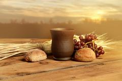 Communion Elements at Sunset Stock Photos