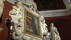 Altar in Church of Our Lady of the Rocks, Perast, Montenegro Stock Footage