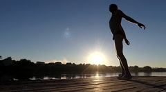 Professional Swimmer Make Exercises Before Start. the Action on the Lake at Arkistovideo