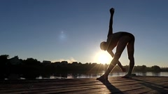 Professional Swimmer Make Exercises Before Start. Stretching Legs. Stock Footage