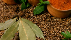 A wide variety of spices. Pepper, cardamom, cloves, cumin, cilantro, coriande Stock Footage