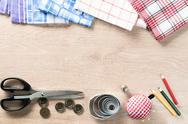 Sewing kit on table Stock Photos