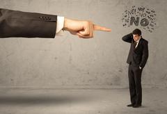 Boss hand guiding beginner salesman Stock Photos