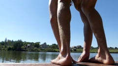 The Swimmer Starts in the Water. Stock Footage