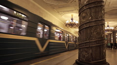 Subway Metro train arrives to a beautiful subway platform station in Saint Peter Stock Footage