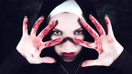 4k Halloween Shot of a Horror Woman Showing Bloody Hands Stock Footage
